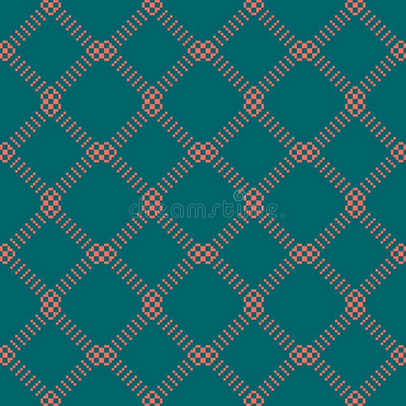 Simple minimal seamless pattern with small squares, grid. Dark green and coral vector illustration