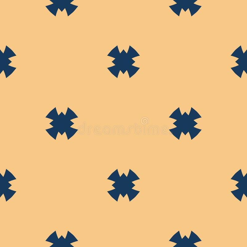 Free Simple Minimal Vector Seamless Pattern. Dark Blue And Yellow Ornament Texture. Royalty Free Stock Photos - 196149648