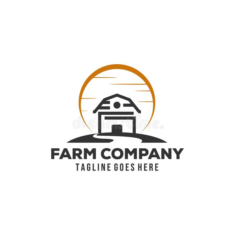 Simple barn logo designs with sun background royalty free illustration