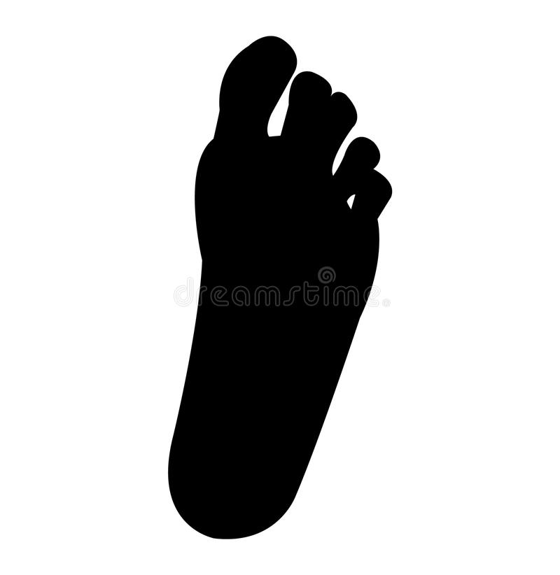 Simple minimal black foot silhouette royalty free illustration