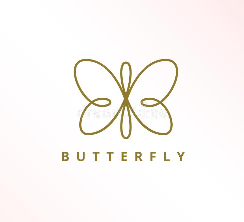 simple minimalist elegant continuous line butterfly icon vector logo design stock illustration