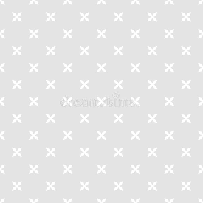 Simple minimalist geometric floral seamless pattern. Gray and white ornament stock illustration