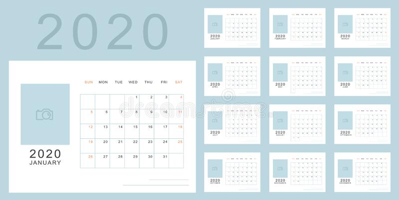 Simple minimalistic calendar of new 2020 year vector illustration