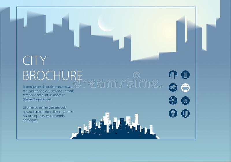 Simple minimalistic city skyline traveling tourist guide book. Horizontal A4 brochure, flyer, cover, poster or guidebook template vector illustration