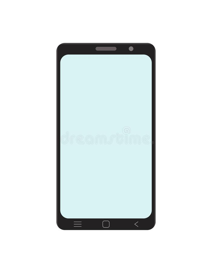 Simple mockup smart phone template with blank screen on white background vector illustration