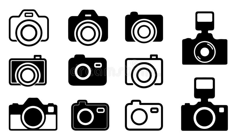 11 Simple & Modern-DSLR Camera Icon - Vector - Illustration vector illustration