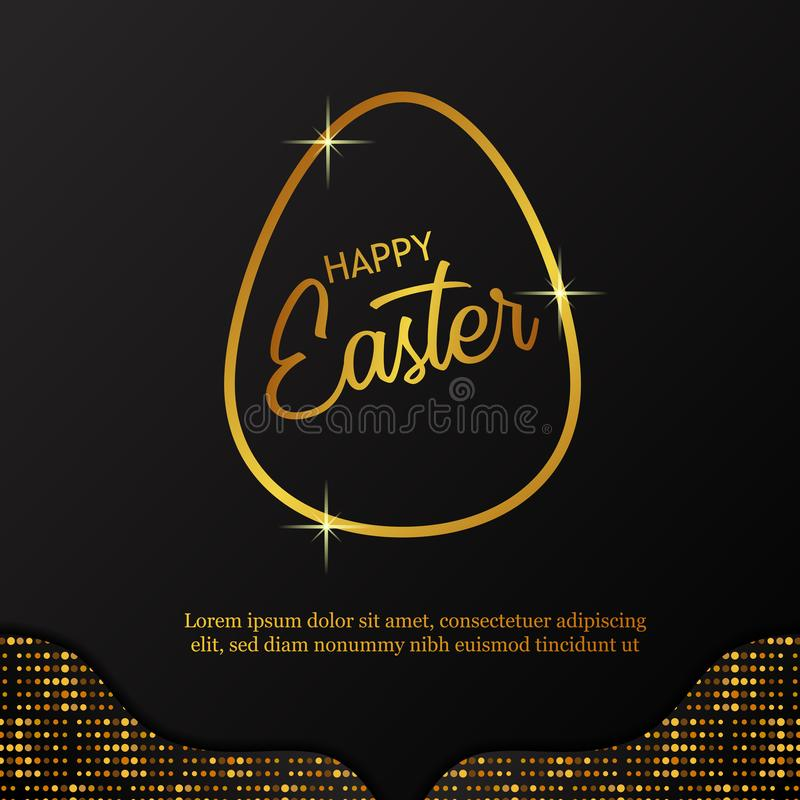 Simple modern golden outline egg with black background and glitter decoration for easter luxury party royalty free illustration