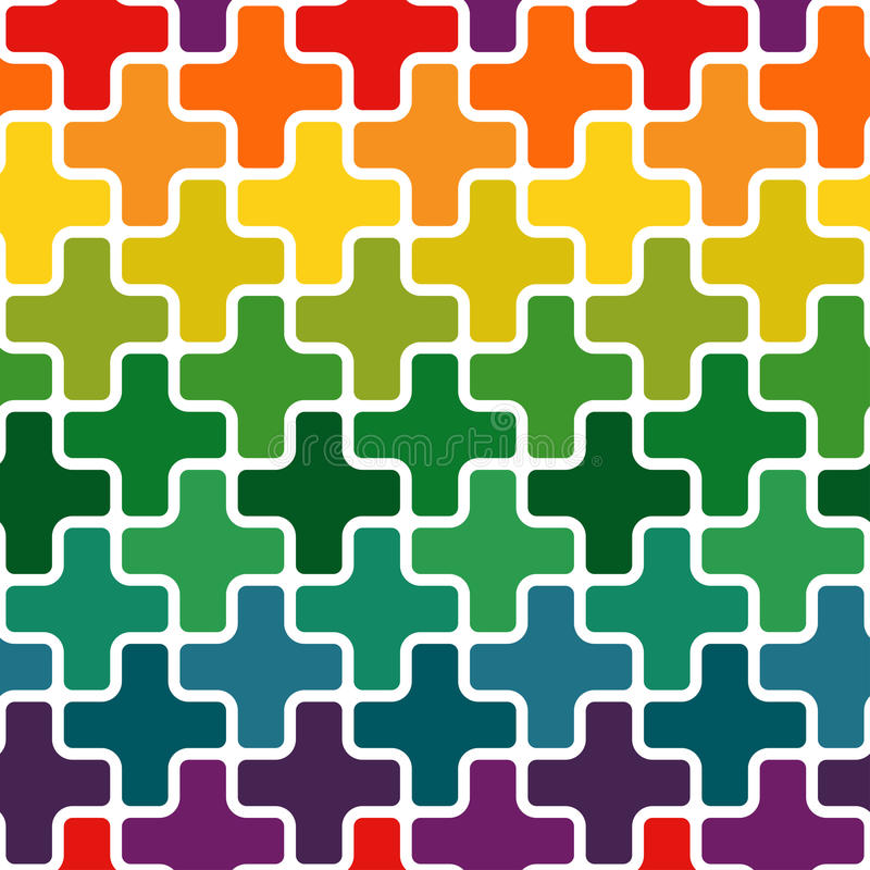 Simple modern rainbow colored repeating background with a structure of colorful crosses royalty free illustration
