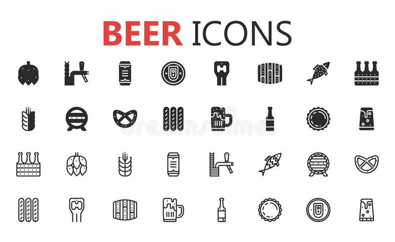 Simple modern set of beer solid icons. Vector illustration. royalty free stock photography
