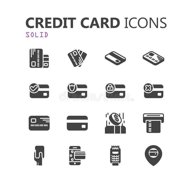 Simple modern set of credit card icons. stock images