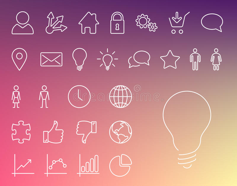 Simple Modern thin icon collection vector illustration