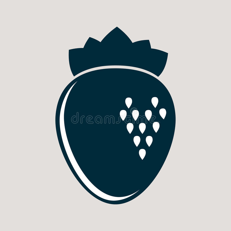 Simple monochromic icon for sweet strawberry royalty free stock photography