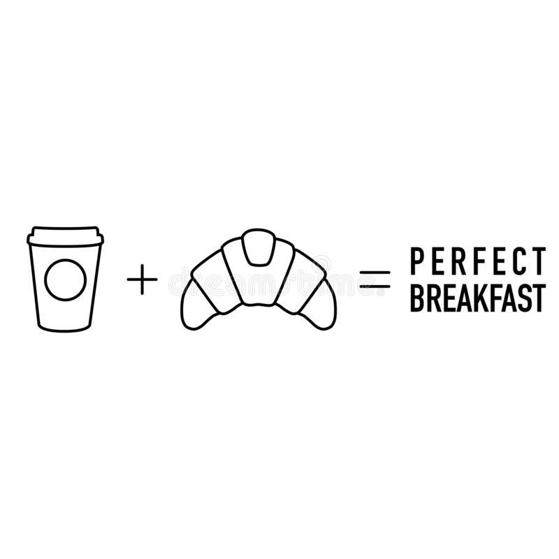 Simple morning math coffee plus croissant equal. Vector stock illustration