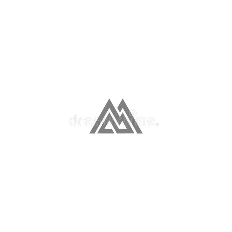 Simple mountain line art logo stock photography