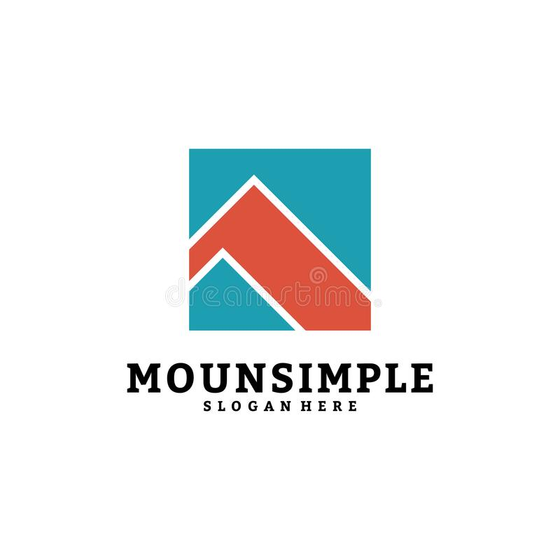 Simple mountain logo vector template design, mount in box, A-initial logo. vector illustration