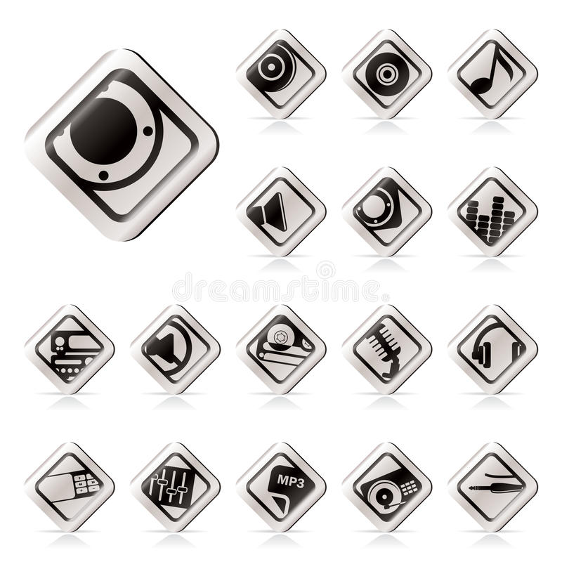 Download Simple Music And Sound Icons Stock Vector - Image: 11123342