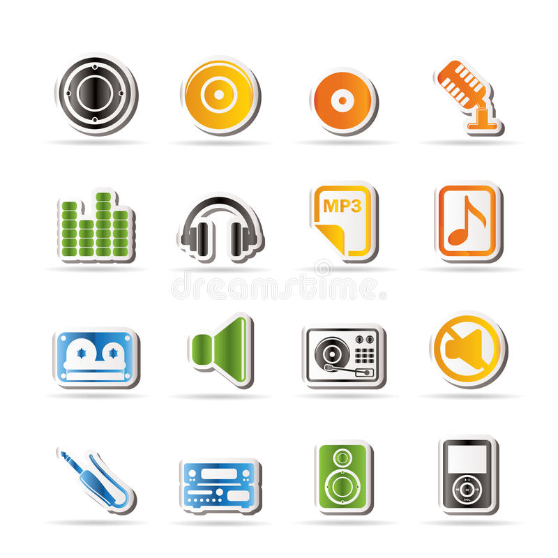 Download Simple Music And Sound Icons Stock Vector - Image: 15975316