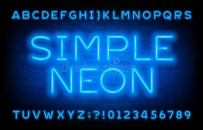 Simple Neon alphabet font. Blue neon light letters and numbers on brick wall background. royalty free illustration