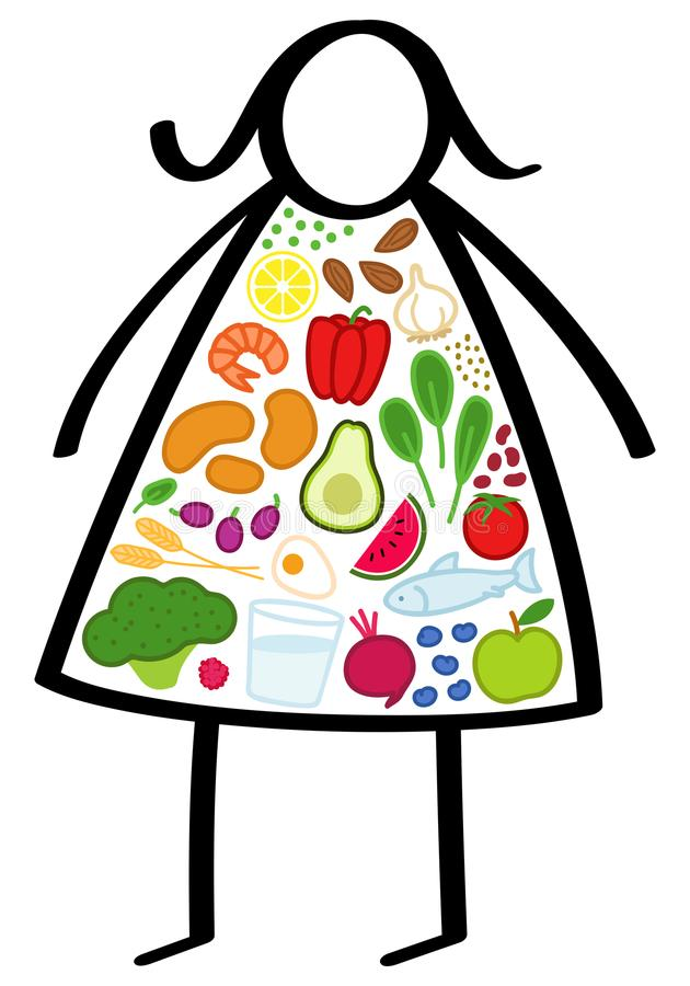 Simple obese stick figure woman on a diet, body filled up with healthy foods, colorful vegetables, trying to lose weight royalty free illustration