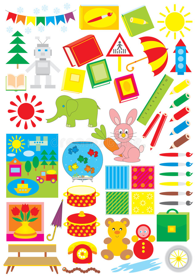 Download Simple Objects For Kindergarten Stock Vector - Image: 6453456