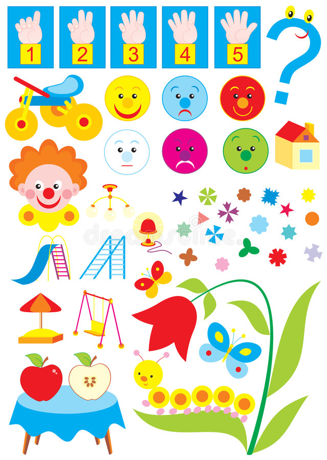 Download Simple Objects For Kindergarten Royalty Free Stock Photography - Image: 6461227