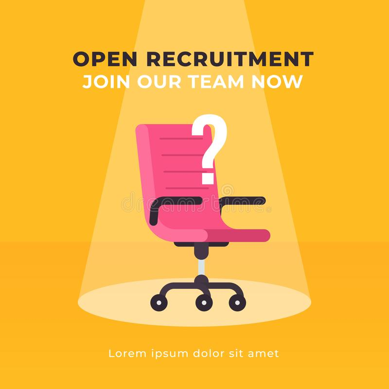 Simple office chair with question mark symbol and spot light background illustration. Business hiring and recruiting concept. Mode stock illustration
