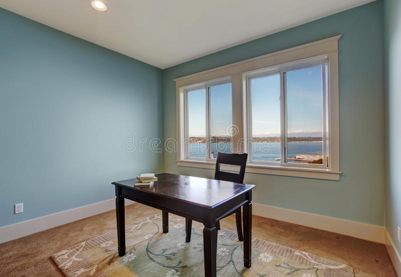 Simple Office Room In Light Blue Color Stock Image Image