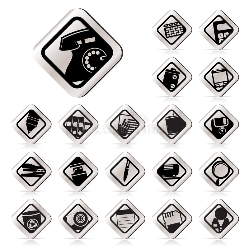 Simple Office Tools Icons Royalty Free Stock Photo