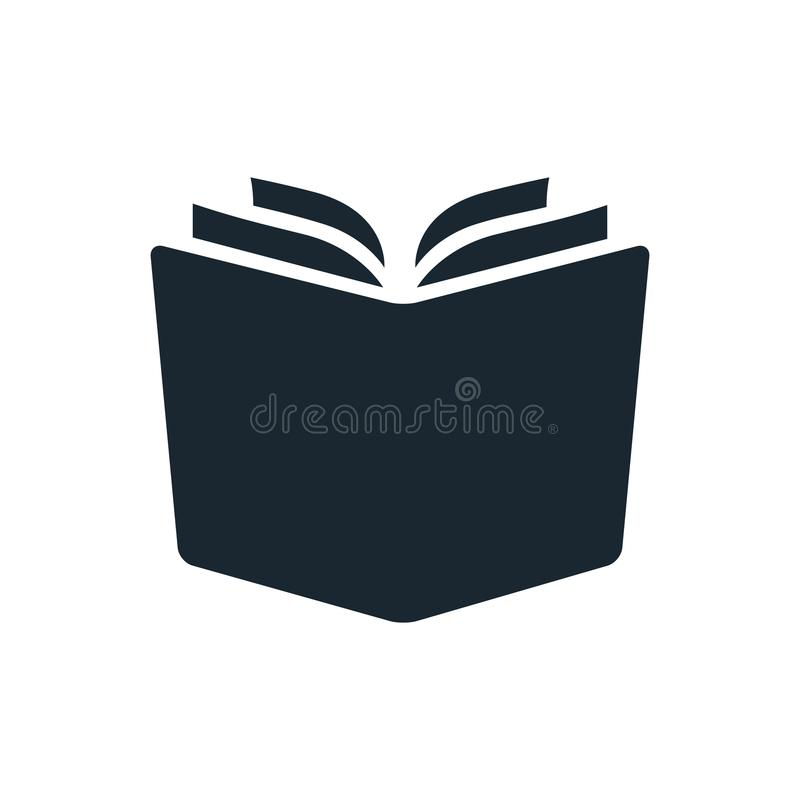 Simple open book vector icon. Single color design element isolated on white. Learning, literacy, school, reading, education, stud royalty free illustration