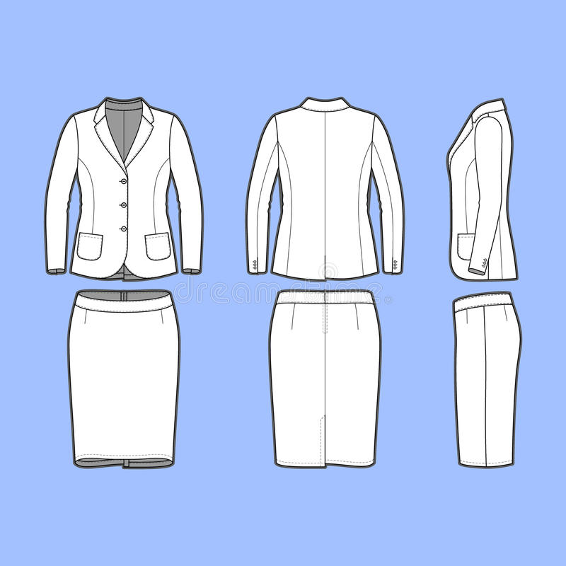 Simple outline drawing of a blazer and skirt stock illustration