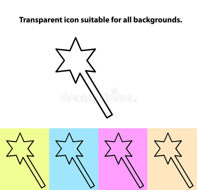 Simple Outline Transparent Magic Wand Icon On Different Types Of