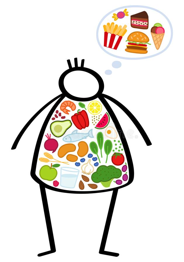 Simple overweight stick figure child on a diet, filled up with healthy vegetables, craving junk food, trying to lose weight royalty free illustration