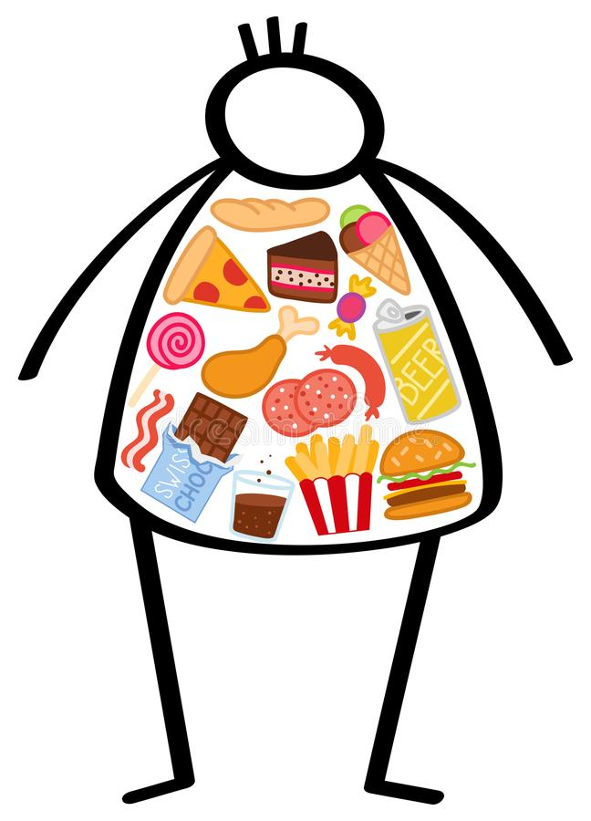 Simple overweight stick figure man, body filled with unhealthy foods, junk food, snacks, hamburger, pizza, chocolate and beer royalty free illustration