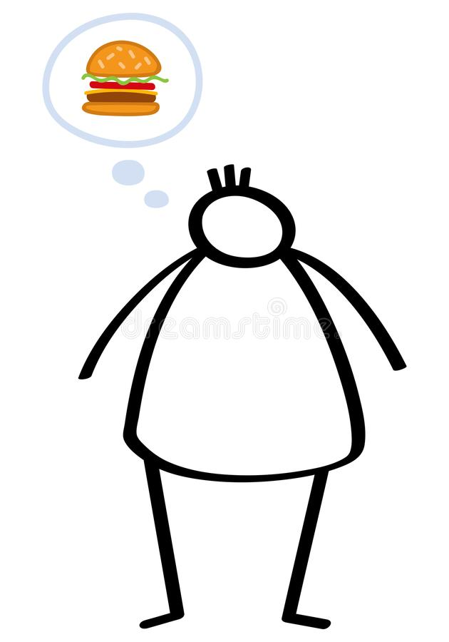 Simple overweight stick figure man on a diet, hungry, craving a hamburger, binge eating, trying to lose weight royalty free illustration