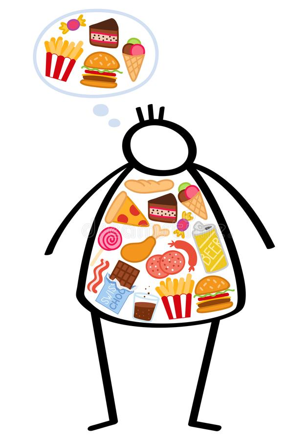 Simple overweight stick figure man filled with unhealthy foods, still hungry, craving more junk food, binge eating, obese man stock illustration