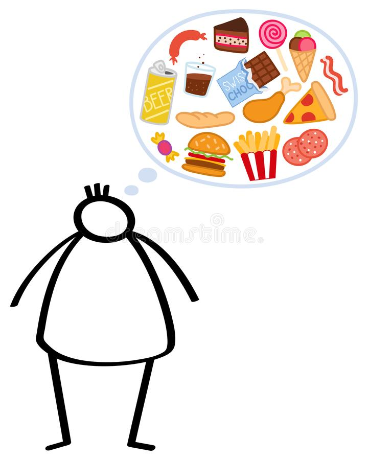 Simple overweight stick figure man, hungry, craving unhealthy junk food, binge eating, obese man thinking of pizza and hamburgers royalty free illustration