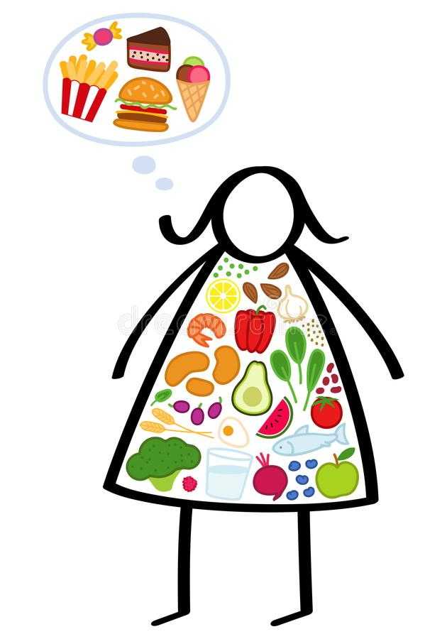 Simple overweight stick figure woman on a diet, body filled with healthy vegetables, craving junk food, trying to lose weight vector illustration