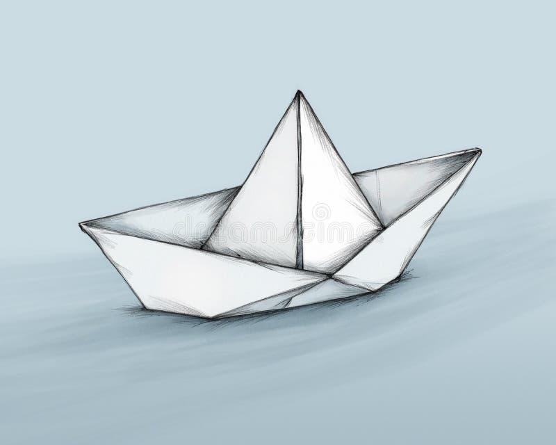 Simple paper boat stock illustration. Illustration of ...