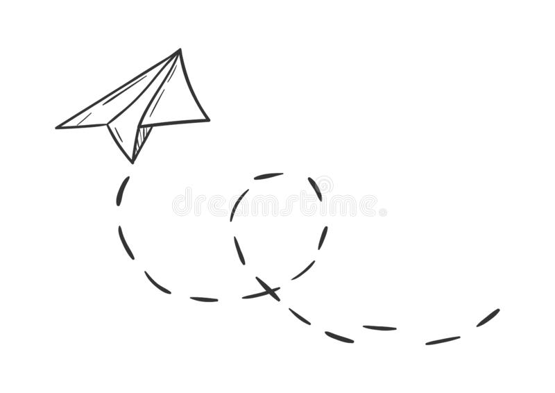 Simple paper plane doodle style - isolated vector illustration. Cute royalty free illustration