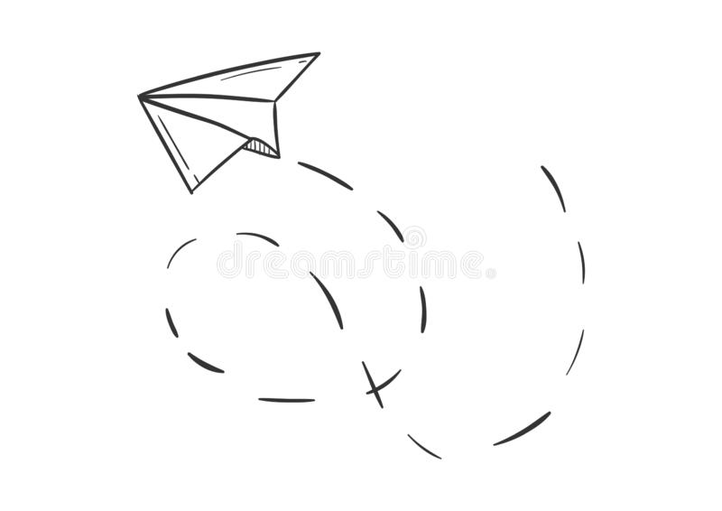 Simple Paper Plane Doodle Style Isolated Vector Illustration