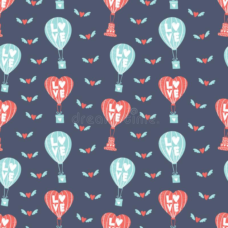Simple pattern. Balloons carries a gift. Hearts fly on wings. Romantic theme for holiday decoration. Balloon with the vector illustration