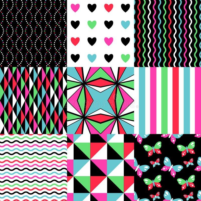 Simple patterns set royalty free illustration