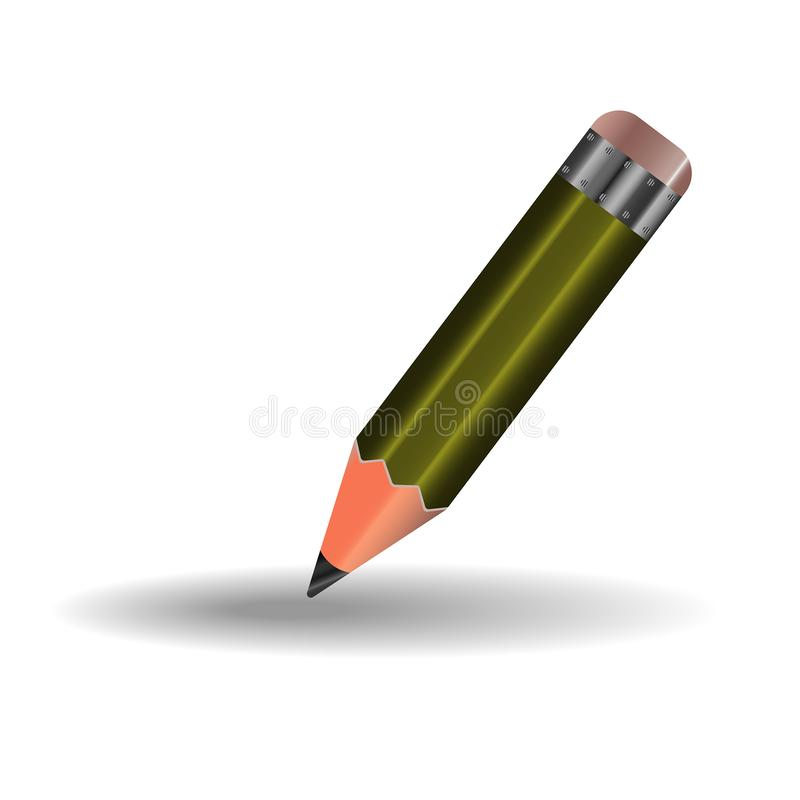 A simple pencil with eraser, green. A simple pencil for sketching and drawing with an eraser, green vector illustration