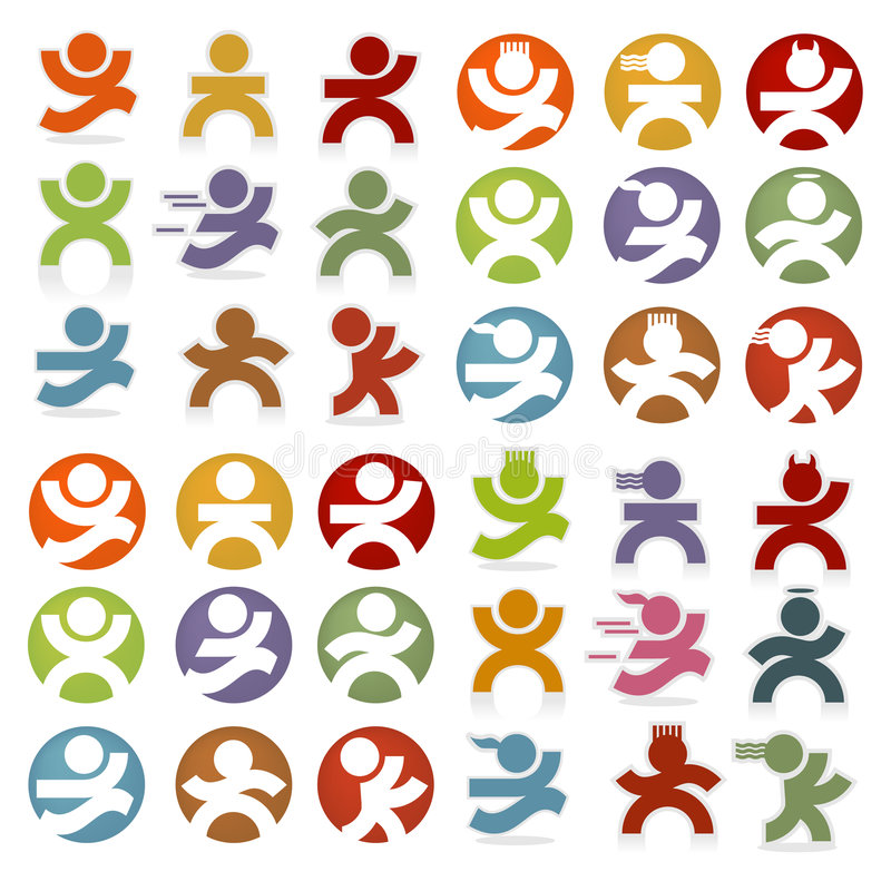 Simple People Icons. Colorful, people icons -- easy to change colors