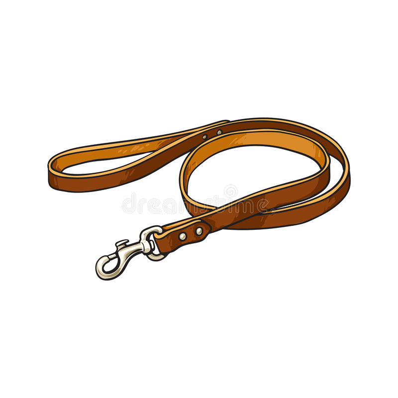 Free Simple Pet, Cat, Dog Brown Leather Leash With Metal Fastener Royalty Free Stock Photography - 93114627
