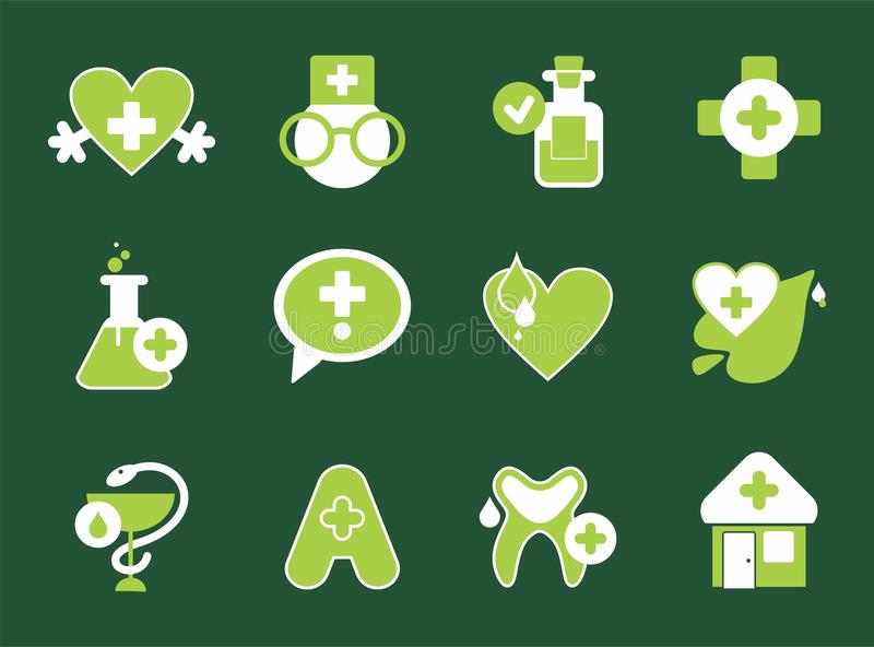 Simple pharmacy icons royalty free illustration