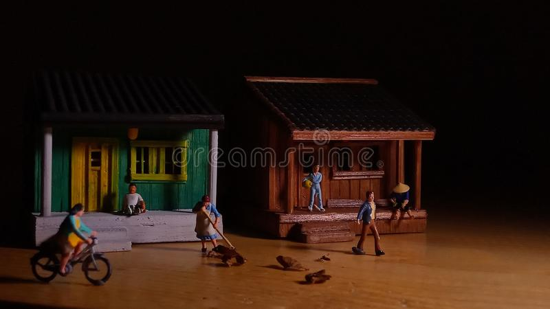 Simple Photo Conceptual, Village People start to doing activity in the very early morning stock photo