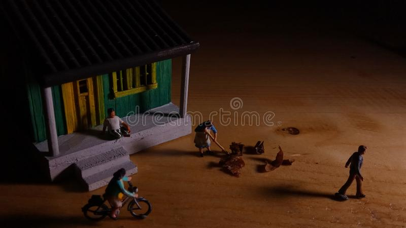 Simple Photo Conceptual, Village People start to doing activity in the very early morning stock images