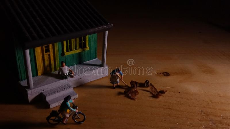 Simple Photo Conceptual, Village People start to doing activity in the very early morning royalty free stock image