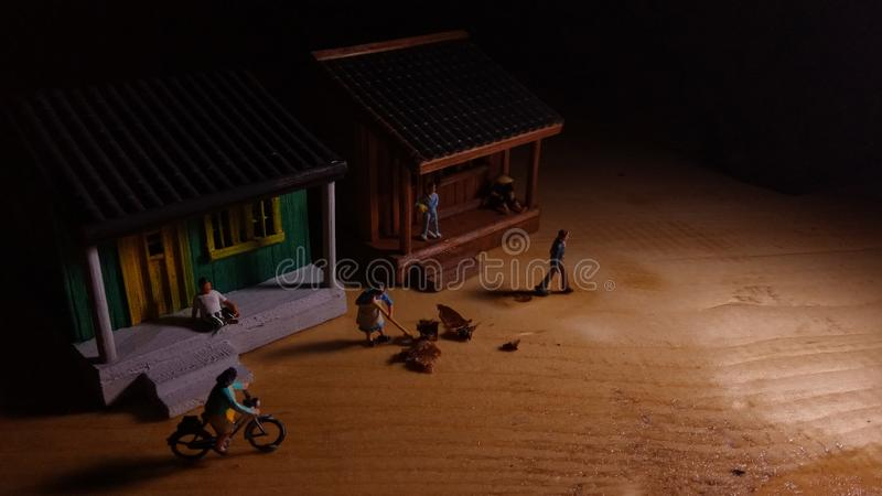 Simple Photo Conceptual, Village People start to doing activity in the very early morning stock photography
